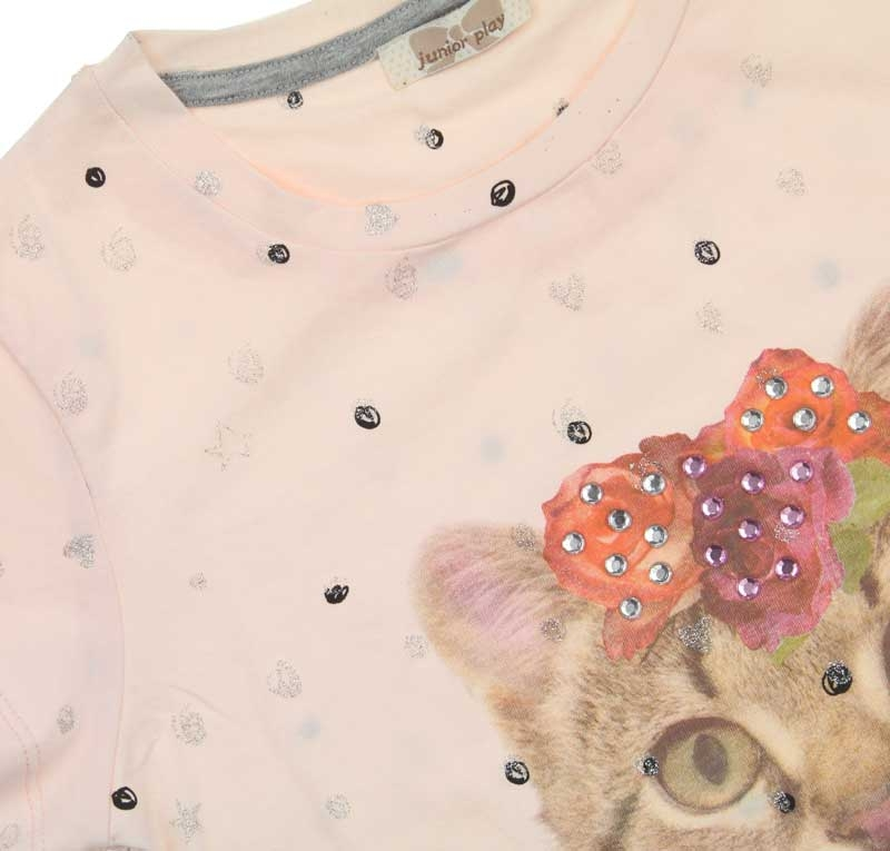 Bambaki Kız Çocuk Kedi Baskılı Tshirt 013-01138-023