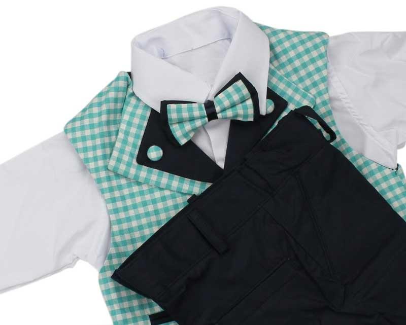 Erkek Çocuk Ekose Yelekli Smokin Takım Elbise 037-216602-040