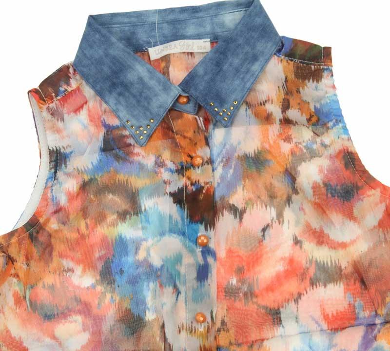Nk Kids Kız Çocuk Yakası Kot Çiçekli Gömlek 002-31770-015