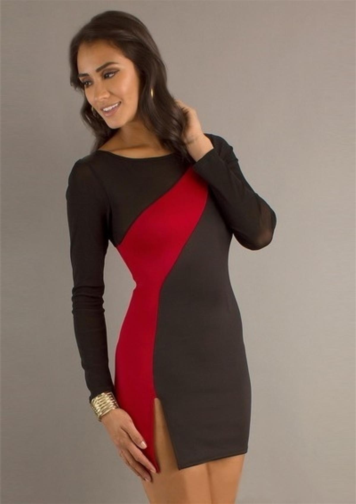 Terry Pau TP100885 Yırtmaçlı Kontra Elbise