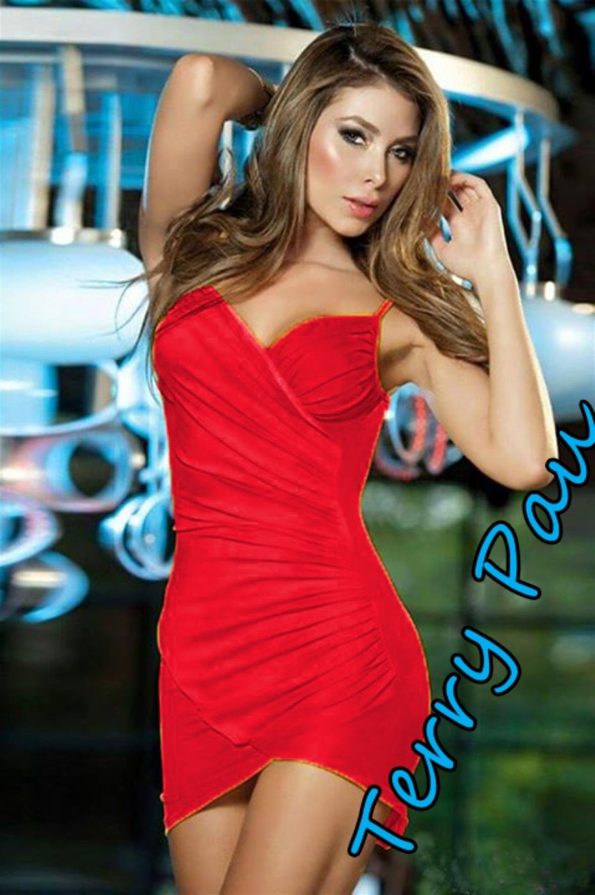 Terry Pau TP101054 Kırmızı Mini Elbise