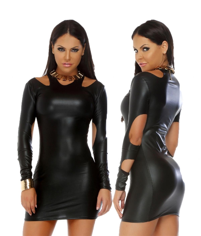 Terry Pau TP101201 Uzun Kollu Açık Mini Elbise