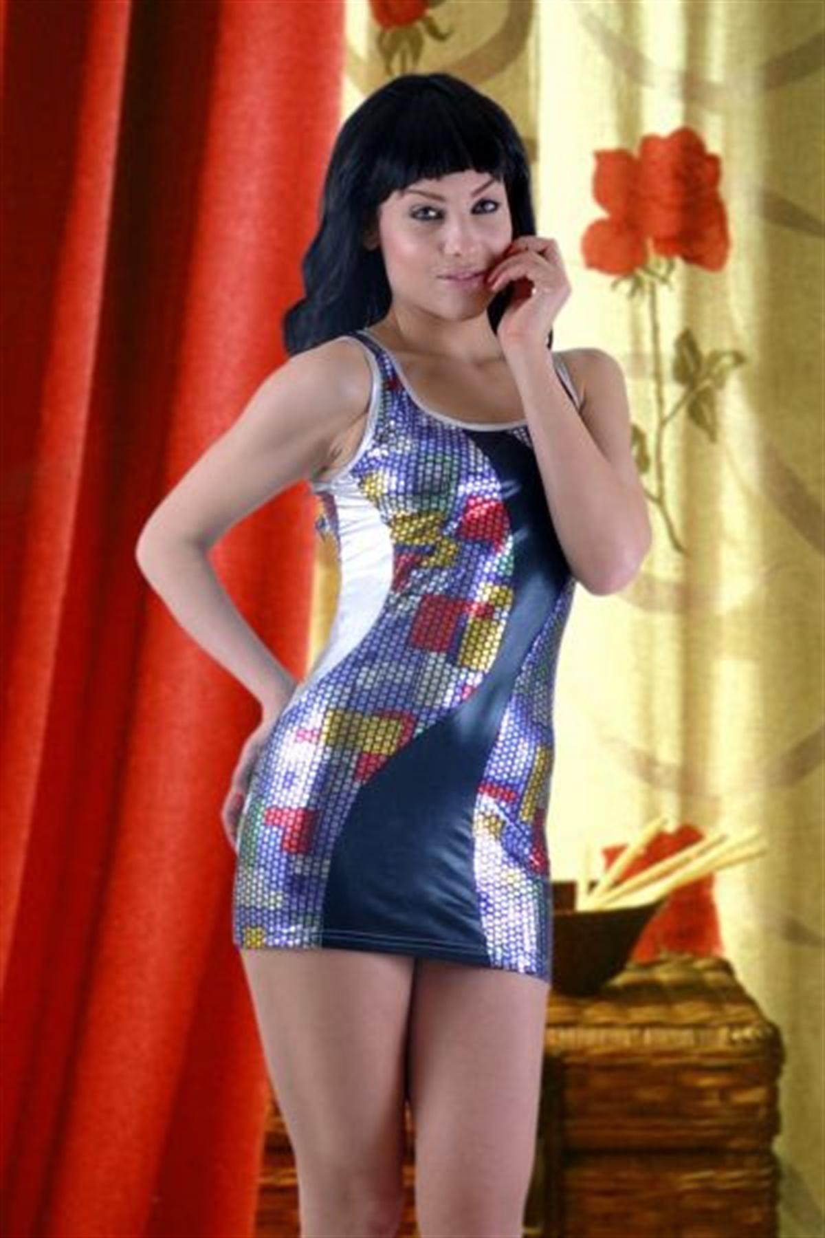 Terry Pau TP102717 Multicolor Seksi Mini Elbise