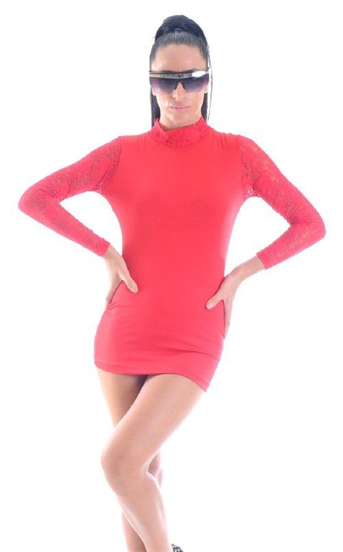 Terry Pau TP1961367 Kırmızı Uzun Kollu Mini Elbise