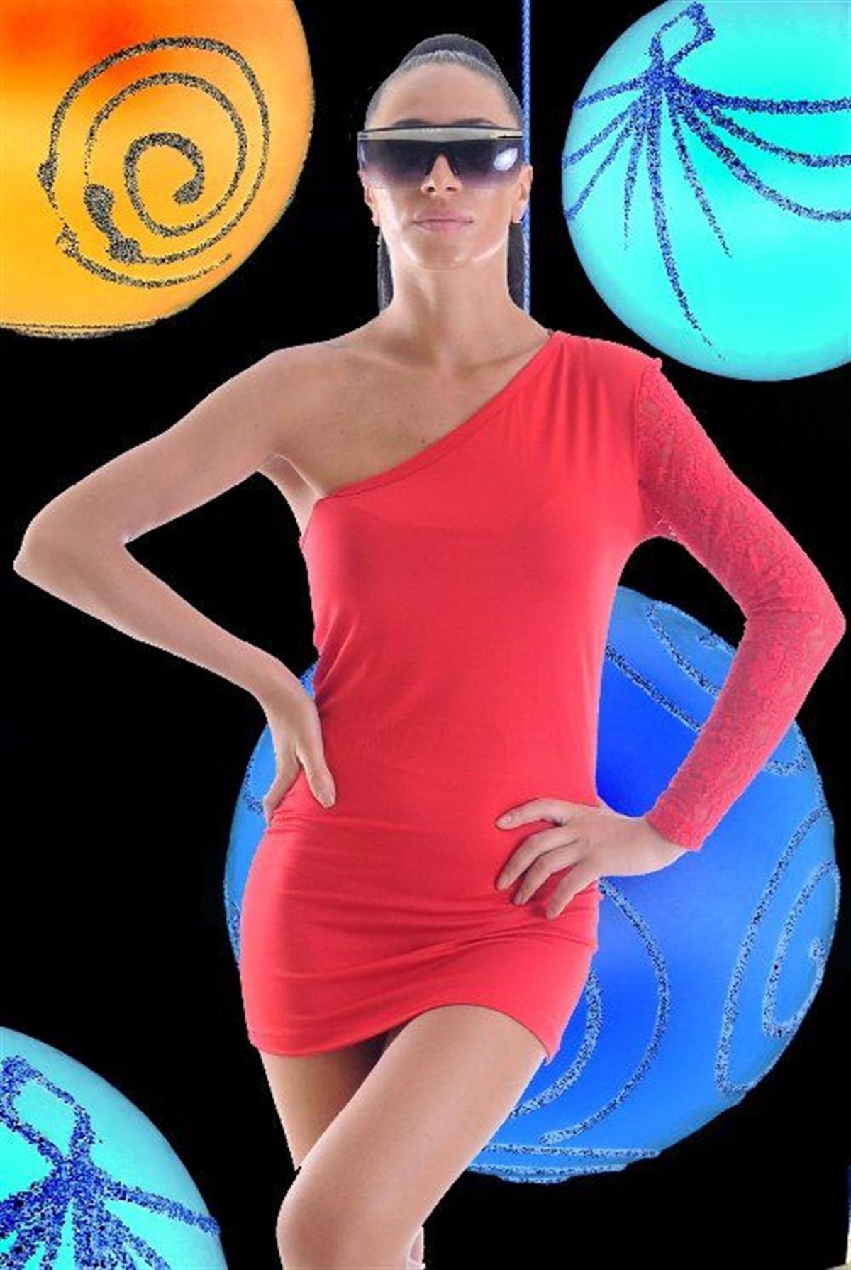 Terry Pau TP1961370 Dantel Tek Kol  Mini Elbise